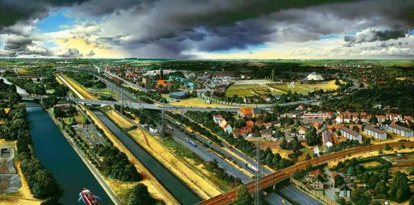 Heiner Altmeppen, Landschaft an der Emscher,Acryl auf Lwd
