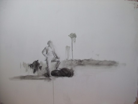 Alejandro R.Gonzalez, The Hunter,2011, 71x110cm,drawing