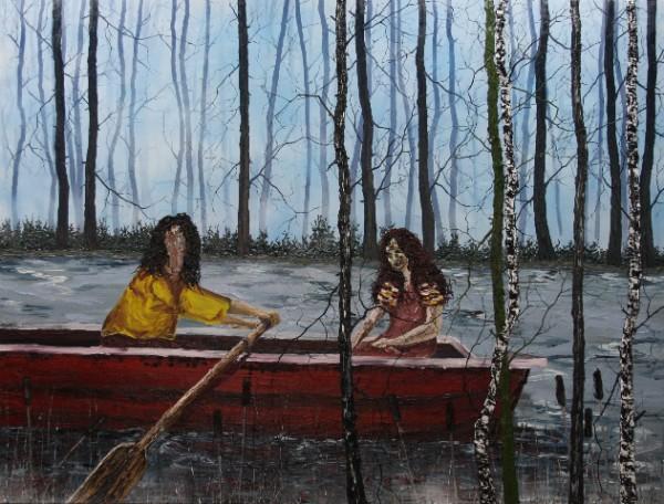René Holm,Der lange Weg zurück, auch wenn er in die Einsamkeit führen wird,2012,190x250 cm oil on canvas