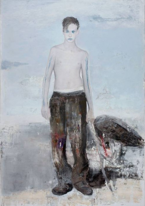 tinei,Boy with a stick,2015 16,200 x 140 cm. Oil on canvas
