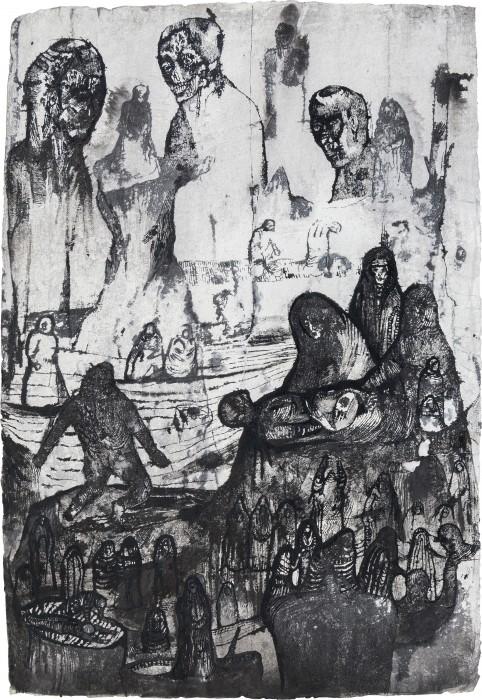 1 - Josef Zlamal - Untitled, 2010, 100x70cm, ink on handmade paper
