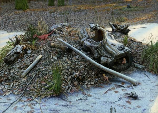 Hide and Seek  2008, oil on wood, 15x21sm.