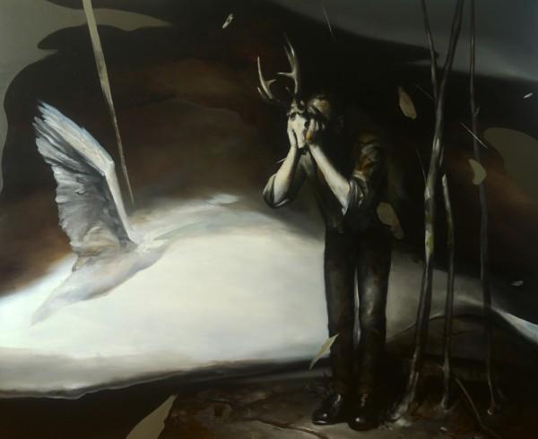 radu belcin.2017.illusion of freedom.oil on linen.115-143 cm.